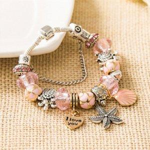 Lovely Rose Cristal Shell Charm Bracelet Argent Antique Tortle Starfish Perle Bracelet pour femmes Bijoux