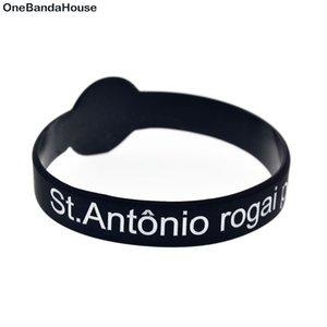 50 adet Defossed ve Renkli Renkli St.Antonio Rogai Por Nos Silikon Bilezik Din İnanç
