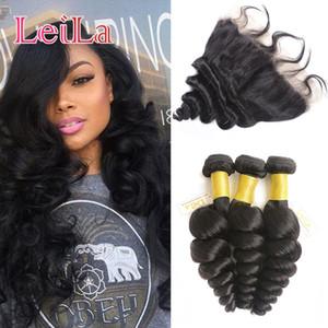Дешевые бразильские человеческие девственные волосы Свободная Волна 3 пучка с кружевным фронтальным закрытием 13 X 4 4 шт. / лот утки волос Weave