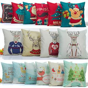 وسادة القضية عيد snowflake الرنة المخدة الكتان الكرتون غطاء وسادة أريكة ديكور المنزل السيارة بدون الأساسية 54 تصميم HH7-1475