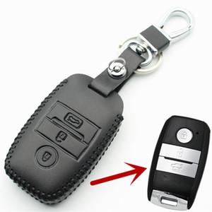 FLYBETTER Cubierta de la caja de la llave inteligente de cuero genuino para Kia KX3 / KX5 / K3S / RIO / Ceed / Cerato / Optima / K5 / Sportage / Sorento Car Styling L72