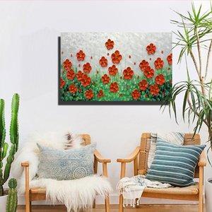 Flor Pinturas al óleo sobre lienzo 100% pintado a mano Resumen Dormitorio de la sala Pinturas decorativas Modern Home Knife Pintura Arte