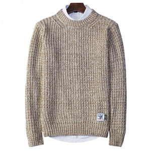 HTLB Autumn Winter Men Casual Sweaters Pullovers Men Acrylic Solid Knitted Brand England Fashion Knitwear Pullover Sweters Male
