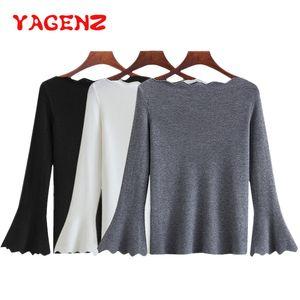 Yagenz alta camisola de malha macia elástica mulheres harajuku outono roupas de inverno coreano flare luva camisola feminino pullover malha