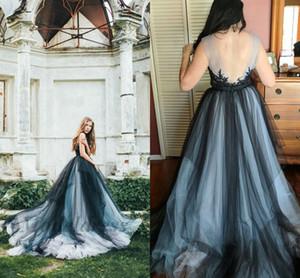 Gotische Brautkleider Bunter Tüll Schwarz Navy Open Back Spitze Appliques Sheer Neck Country Brautkleider Modische Design Bohemian Style