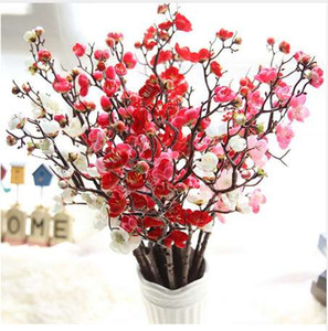 Venda quente flores artificiais plum flor plantas artificiais ramo de árvore de flores de seda para casa decoração de festa de casamento flor falsificada