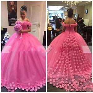 2019 Горячие розовые цветы ручной работы Appliques Quinceanera Платья Tulle Puffy Bridal Plasss Saudi Arabic Vestidos