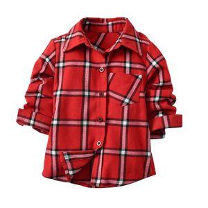 Fashion kids plaid shirts blouses Red long sleeve boys shirts casual Children cotton oxford baby plaid shirt Child tops clothes