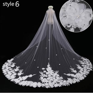 White Lace Two-Layer Wedding Veils 2018 On Sale Elegant Cathedral Bridal Veils In Stock 380 CM Wedding Accessories For Church Beach Wedding