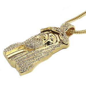 """جديد مثلج خارج JESUS الوجه المعلقات مع 32 """"حبل فرانكو سلسلة الهيب هوب نمط قلادة الذهب الفضة تصفيح الهيب هوب المجوهرات قلادة"""