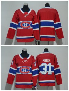 2018 Niños Juveniles Montreal Canadiens Hockey Sobre Hielo Jerseys Barato # 31 Carey Price Boys Jerseys Blank Authentic Stitched Jerseys