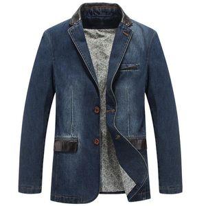 Men's New denim blazer slim fit leather denim jacket men cowboy blazer masculino casual jeans suit jacket OUTERWEAR