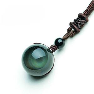 Perles Obsidienne Pierre Noire naturelle arc-en-Eye Ball transfert chanceux amour pour les femmes Pendentifs Colliers Homme Couple cadeau