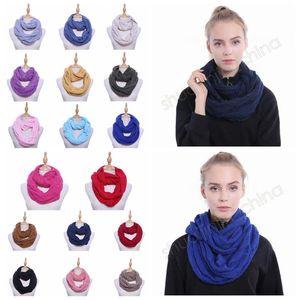 17 цветов вязаный шарф круг петли шарф Леди обернуть шарфы толщиной теплее шеи шарф крючком шарфы 70*35 см CCA10631 30 шт.
