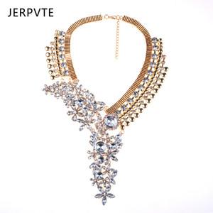 JERPVTE Maxi Joyería Declaración Mujeres Crystal Rhinestone Collar Largo Gargantilla Collar de Metal Colgante Collar joyería hecha a mano