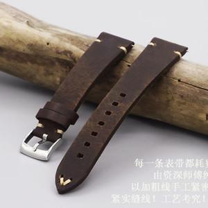 Correas de cuero genuino 20mm, accesorios de reloj Hombre Alta calidad vintage marrón oscuro para correa de correa de reloj