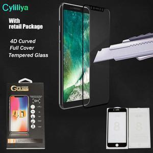 4D 5D de calidad superior para iPhone X 6 7 8 más protector de pantalla de cristal frontal templado, cubierta completa 4D borde curvo duro