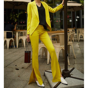 Zweiteiliger Anzug der gelben Klage der Art und Weise nach Maß (Mantel + Hosen) Dünnes Normallackklagefrauen Geschäftslokal-formales Kleid