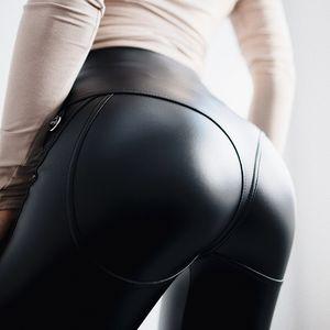 Sexy cintura alta gótica Negro Cuero de la PU de las polainas de las mujeres de la cremallera delantera de entrenamiento Legging Jeggings punk Leggins Leggings Pantalones para Mujeres