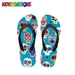 Crâne Noir Imprimé Femmes Pantoufles Plage D'été En Caoutchouc Flip Flops Mode Filles Cowboy Bleu Sandales Chaussures Tête De Crâne Sandales