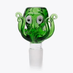 14mm et 18mm Joint bol Bong en verre design mignon Octopus pièce Smoking Bowl tête de couleur mâle verre herbe bol pour le verre Bongs
