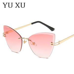Yu Xu New Stylish Cat Eye Frame Gafas de sol de la marca sin marco Cut-Edge Sunglasses Gafas Gradient Lens para damas H76