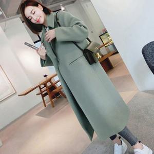 Nuevo Espesar Abrigo de lana Mujer de manga larga Cuello suelto Outwear Chaqueta Casual Otoño Invierno Elegante Abrigo largo Tallas grandes