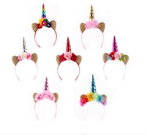 Hair Hoop Gold Horn Copricapo Fiore Animale Unicorno Party Stretch Stretch Clip per capelli Accessori in feltro rosa