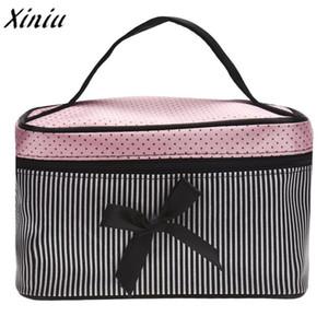 Novo E Quente Quadrado Bow Stripe Cosméticos Saco de cetim funcional saco de viagem trousse maquillage femme 2018