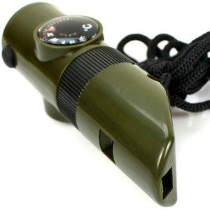 7 In 1 Survival Whistle 야외 다기능 호각 긴급 생활 절약 캠핑 하이킹 손전등 나침반 온도계 돋보기 기어