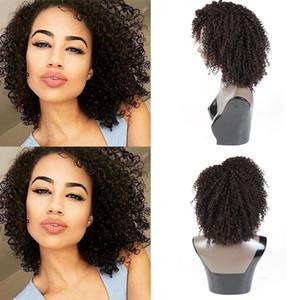 Perulu Afro Kinky Kıvırcık İnsan Saç Peruk Manikür Hizalanmış Bakire Remy İnsan Saç Peruk Ön Koparıp 150 Yoğunluk Kıvırcık İnsan Saç Peruk