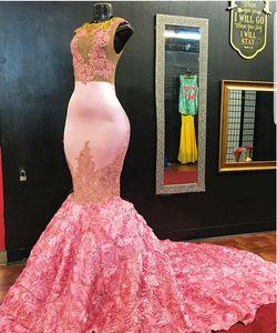 Сексуальный Розовый Русалка Африканские Платья Выпускного Вечера 2020 Иллюзия Кружева Аппликации 3D Цветочные Плюс Размер Арабский Черные Девушки 2K19 Пара Модные Вечерние Платья