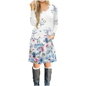 New arrival women's long-sleeved dress in autumn, 100% cotton 3D printed dress, girls fashion hot T-shirt skirt Butterfly flower