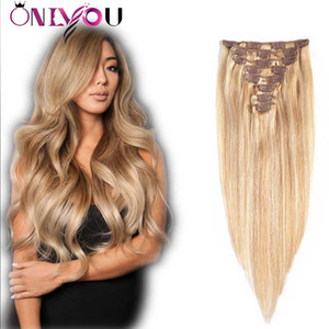 Vierge brésilienne droite # 27/613 Clip Blonde Ombre dans les extensions de cheveux humains pleine tête 8 pcs / set pince à cheveux humains dans les extensions