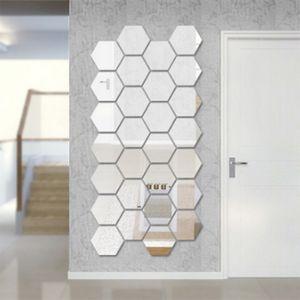 1 pc Caixa Hexagonal Caráter Estereoscópico Espelho Decorativo Adesivos de Parede Decoração Sala de estar