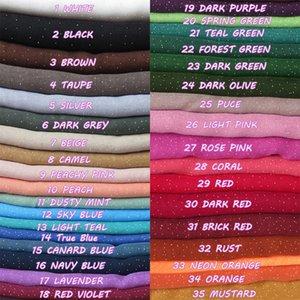 10 unids / lote Shimmer Glitters versátil algodón Voile Maxi liso bufanda chal Hijab Wrap colores lisos 180 cm x 95 cm