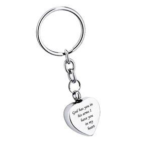 Dieu a vous dans ses bras Je vous ai dans mon coeur Pendentif en acier inoxydable Coeur Crémation Urne Porte-clés Souvenir Souvenir Cendres Bijoux
