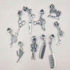argent ancienne machine à coudre / Sèche-cheveux / Ciseaux / Règle / boule de fil / peigne Pendentif Charm NecklaceBracelet Accessoires Bijoux A93