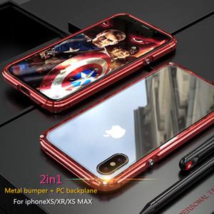 Großhandel Schlank Metallrahmen Fall für iPhone XS XS MAX Luxus Aluminium Stoßstange + Transparent Backplane Stoßfest Fall für iPhone XR
