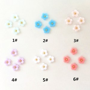 10Pcs Pack Candy Color Resin Five Flowers Metal Alloy Nail Art Decorations Nail Charms decos