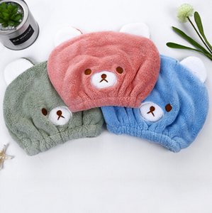 Ultra Absorbent Hair Drying Towel for Kids, Cute Cartoon Bear Coral Velvet Children Fast Drying Bath Microfiber Shower Head Towel Bathing