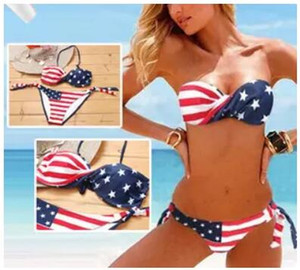 Neueste Sommer Dame Push-Up Padded USA Bikinis BOHO Amerikanische Flagge Fringe Quaste Bandage Badeanzüge Bademode