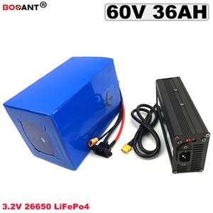 Di trasporto 3.2V LiFePo4 batteria al litio 60V 36Ah E-bici elettrica della bicicletta della batteria 60V 1500W 2000W 3000W Motor + 5A caricatore