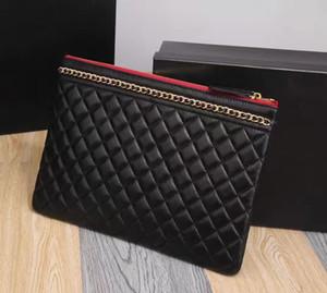 2018 Wholesale genuine leather ipad case lambskin top quality classic makeup bag cosmetic cases original box zipper purse