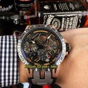 Дешевые новый Excalibur Spider 46 мм Rddbex0479 скелет циферблат турбийон ручной подзавод автоматические мужские часы кожа / резиновый ремешок спортивные часы