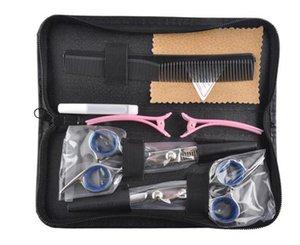 Hot 5 pz Strumenti di Parrucchiere 6.0 pollice Barbiere Forbici Kit Tagliatore di Capelli Rasoio Hair Styling Forbici Strumento di Taglio Dei Capelli Pacchetto Combinazione