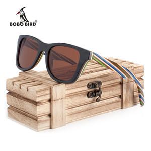 BOBO BIRD 100% natural de madera Marco raya del color gafas de sol polarizadas hombre de las mujeres de Steampunk Gafas de sol Dropshipping OEM