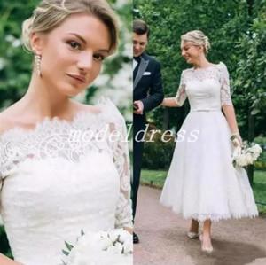 Comprimento do tornozelo País Vestidos de Casamento 2019 Bateau Manga Comprida Lace Apliques Curto Jardim Praia Vestidos de Noiva Plus Size robe de mariée