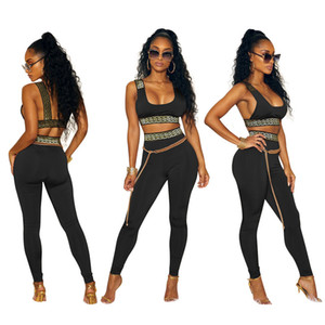 Varios colores Mujeres Casual Moda Simple Style Ladies 2018 Mujeres 2 piezas Set Tank Tops Wear Long Pants Mujeres Bodycon Elasticity Set