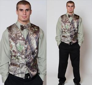 뜨거운 Realtree Camo Mens 조끼와 4 개의 버튼 턱시도 조끼 남자 정장 위장 맞춤형 망 결혼식 조끼 신랑 / 신랑